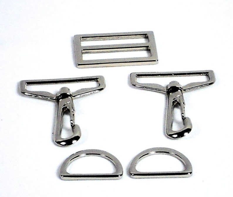 5pc Purse Hardware Set 1.5 Silver Swivel Hooks 1  fe89099152173