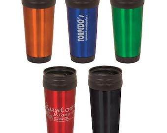 14 oz Personalized Custom Laser Engraved Stainless Steel Travel Mug  - 5 Colors