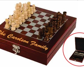 LASER ENGRAVED Travel Chess Set - Rosewood Finish Chess Set - Custom Personalized Chess Set - Black,Gold or Silver Engraving
