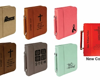 Laser Engraved Leather Bible Cover.  Choice of Image, Font and Wording.  2 Sizes FREE SHIPPING