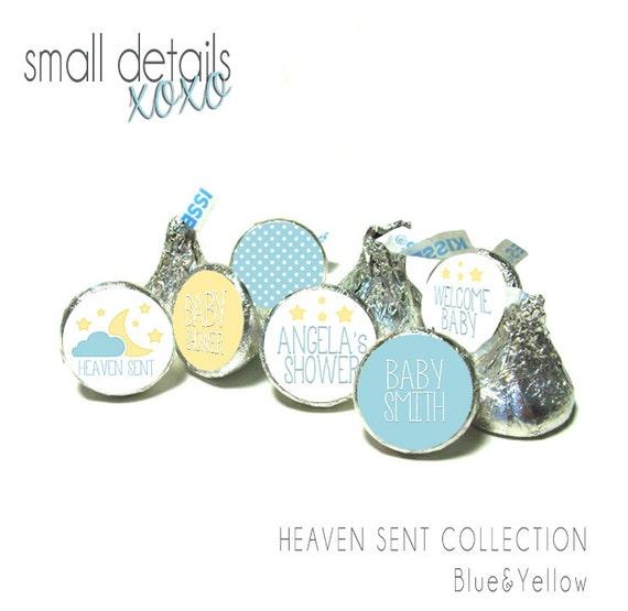 Baby Shower Heaven Sent Kiss Stickers For Hersheys Etsy