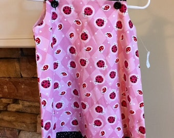 LADYBUG dress.  Size 18/24 months.  Pink with Ladybugs.  Black and White Dots.  Stylish.  Summer.  Handmade in the USA.  Little Girls.