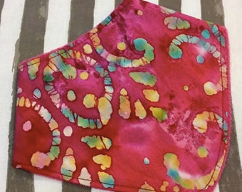 COLORFUL BATIK bandana bib.  Absorbent Terry Cloth Backing - Pink - Made in America - Drool - Spit-up - Teething - Baby