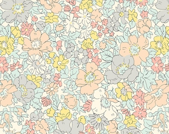 Liberty The Cottage Garden Cosmos Meadow Natural Fabric - Liberty 100% Cotton Quilting Fabric