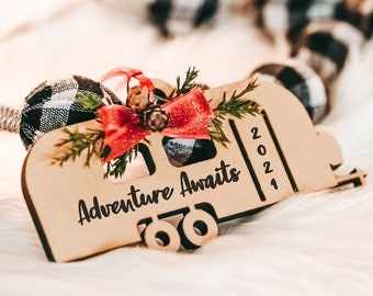 Camper Ornament, Adventure Awaits 2021, Gift for New Camper Owner, RV Christmas Ornament, Travel Trailer Ornament Camping Gift Choose Phrase