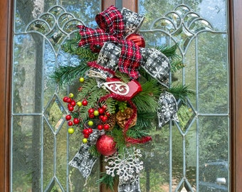 small christmas door swag unique christmas decorations nursing home door decoration wreath alternative rv christmas decor teardrop swag - Small Christmas Door Decorations