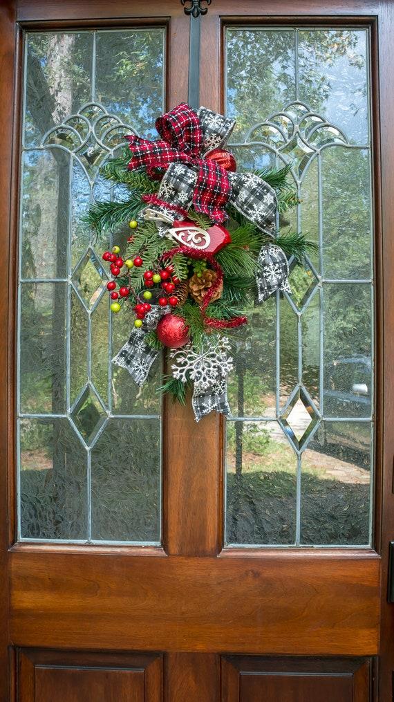 Small Christmas Door Swag Unique Christmas Wreath Etsy