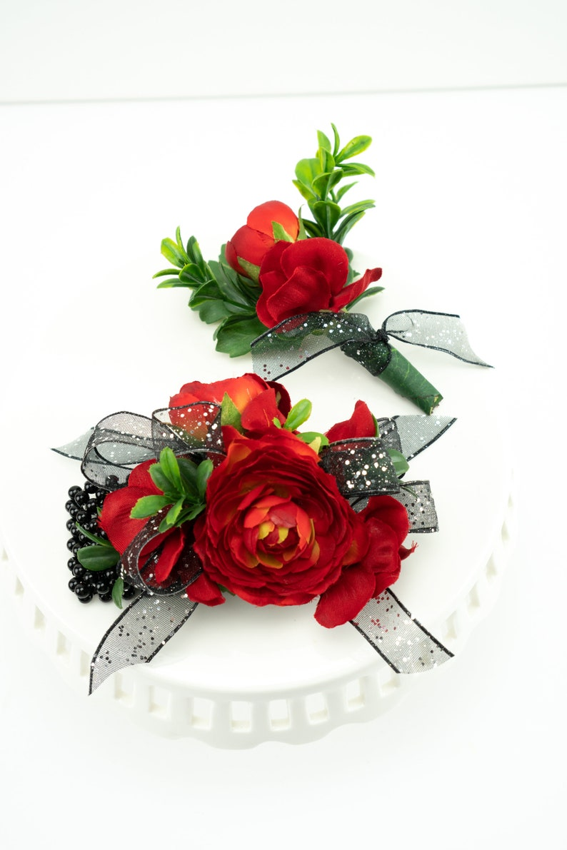 Red and Black Prom Corsage Homecoming Corsage Wrist Corsage image 0