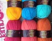 Colour pack of wool - 39 Juicy 39 - pink, orange, blue. 6 balls of Stylecraft Special DK