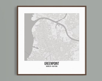 Greenpoint district of Brooklyn map, New York city poster, NYC Map Print, City Map Print, Downloadable file, Pencil style map