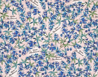 TEXAS BLUEBONNET STATE Flower Cotton Fabric 1/4 yard x 44 inches 9 inches x 44 inches