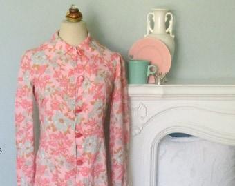 Long Sleeve Dress, Floral Dress, 1960's Floral Dress, Pink Floral Dress, Summer Dress, Pink Women's Dresses, Shirt Dress, 60's Shift Dress