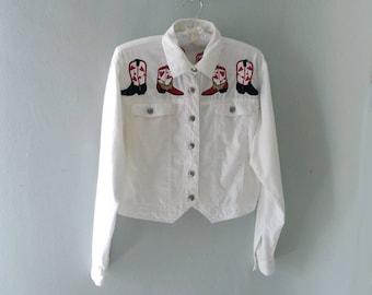 Cowgirl Shirt, Cowgirl Jacket, White Jacket, Embroidered Jacket, Cowboy Boots, Summer Jacket, Novelty Print Jacket, Embroidered Jacket