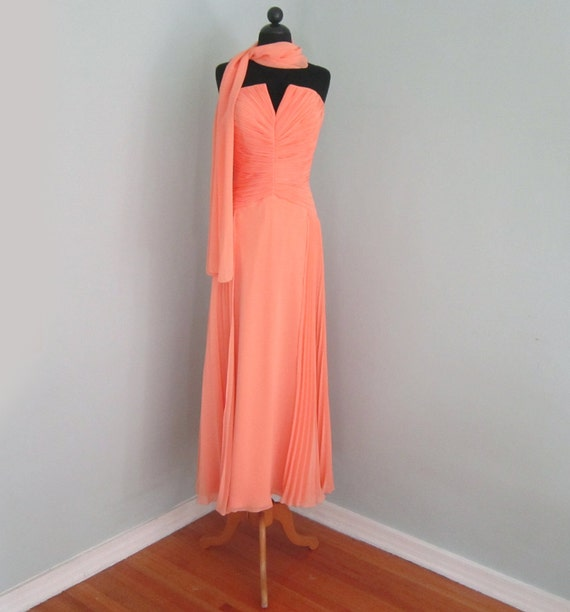 Peach Evening Gown Coral Prom Dress Orange Formal Red   Etsy