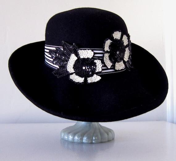 6f36a0b7c585f Women s Black Wool Hat Wide Brim Black Hat Black and