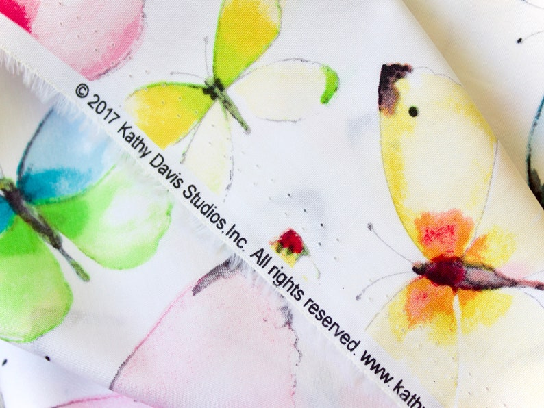 Butterflies Cotton Multicoloured. Per Half Metre or Per Yard 19.5 Butterflies on White by Kathy Davis for Fabric Traditions