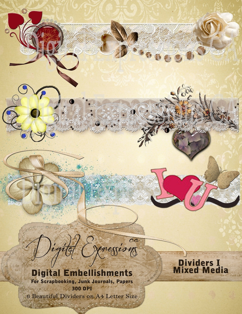 Butterfly Lace Heart Floral Junk Journal Papers 6 MIXED MEDIA Blendable Cluster Art Ribbons Collage Key Junk Journal Kit Dividers