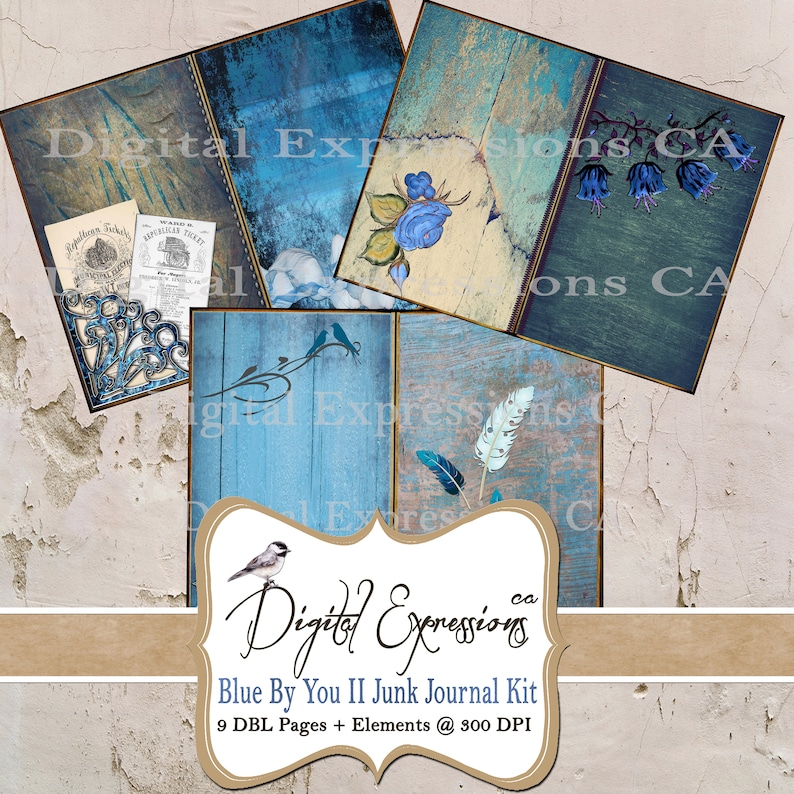 JUNK Journal Blue By You II full size Kit Instant Download Turquoise Greenish Blue Grunge Printable DIY paper crafting digital collage sheet