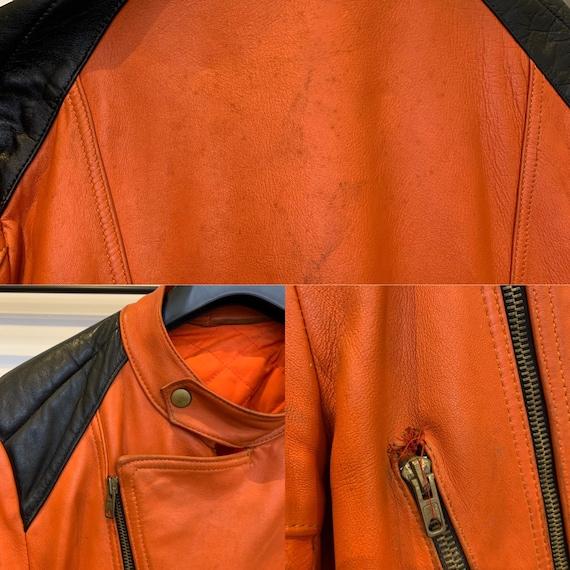 Vintage 70's/80's orange and black leather bike b… - image 4