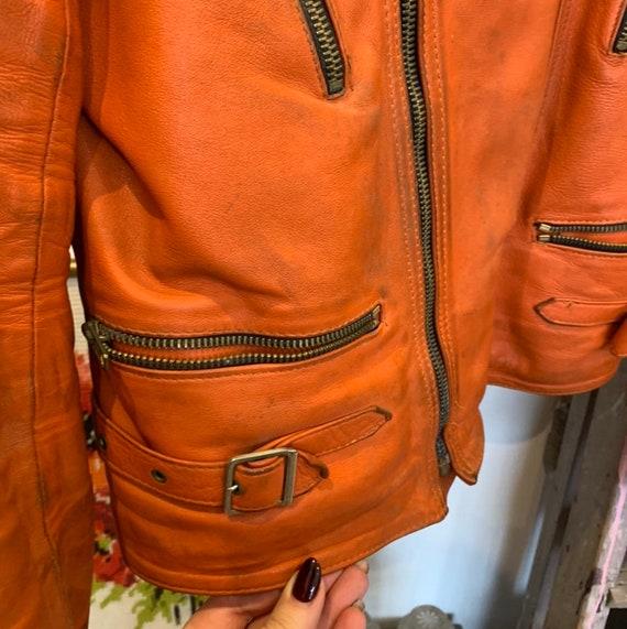 Vintage 70's/80's orange and black leather bike b… - image 2