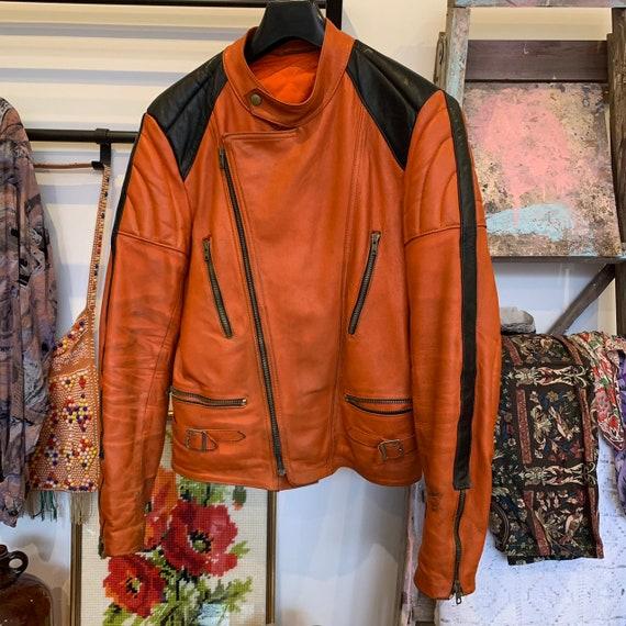 Vintage 70's/80's orange and black leather bike b… - image 1