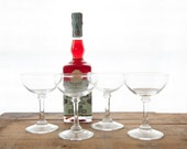Set of 4 Vintage Coupe Cocktail / Champagne Glasses