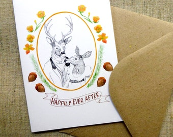 Deer Woodland Wedding Card Engagement Card Happily Ever After