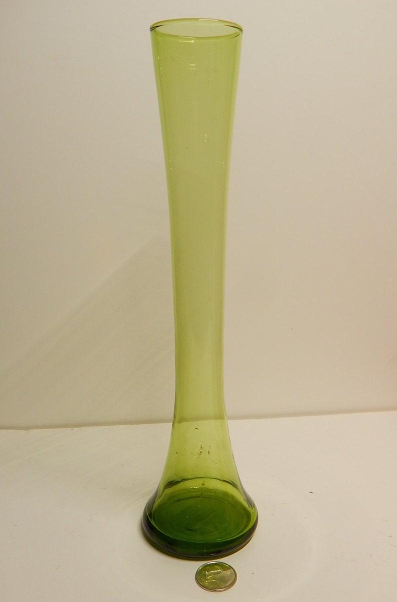 11.5x2.5 Murano Morelli hand-blown Tall Yellow-Green Vase