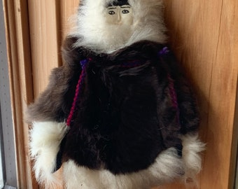 """Vintage Inuit Eskimo Doll with Traditional Fur Clothing. Handmade. Painted antler face about 7"""""""