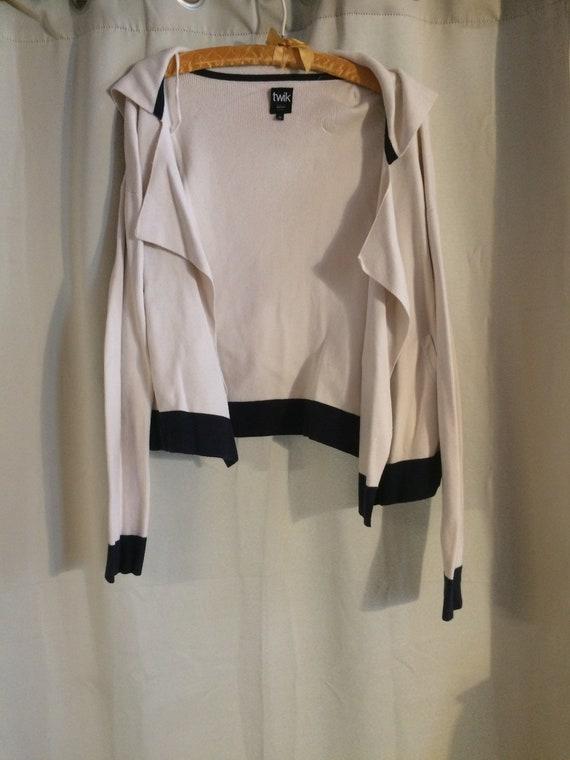 Women/Girls Sweater, White Cotton Knit, size L, Sa
