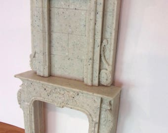 NEW! GRANITE FAUX DOLLHOUSE FURNITURE FIREPLACE MANTLE