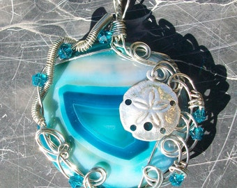 Wire Wrapped Agate Pendant with Sand Dollar by Rebecca Weber