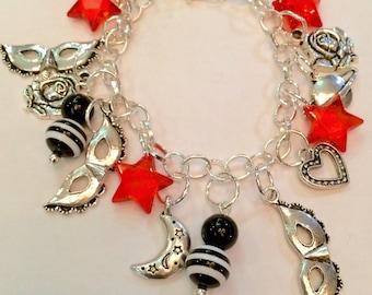 Set of 3 Silvertone Moose Blue Charm Beads