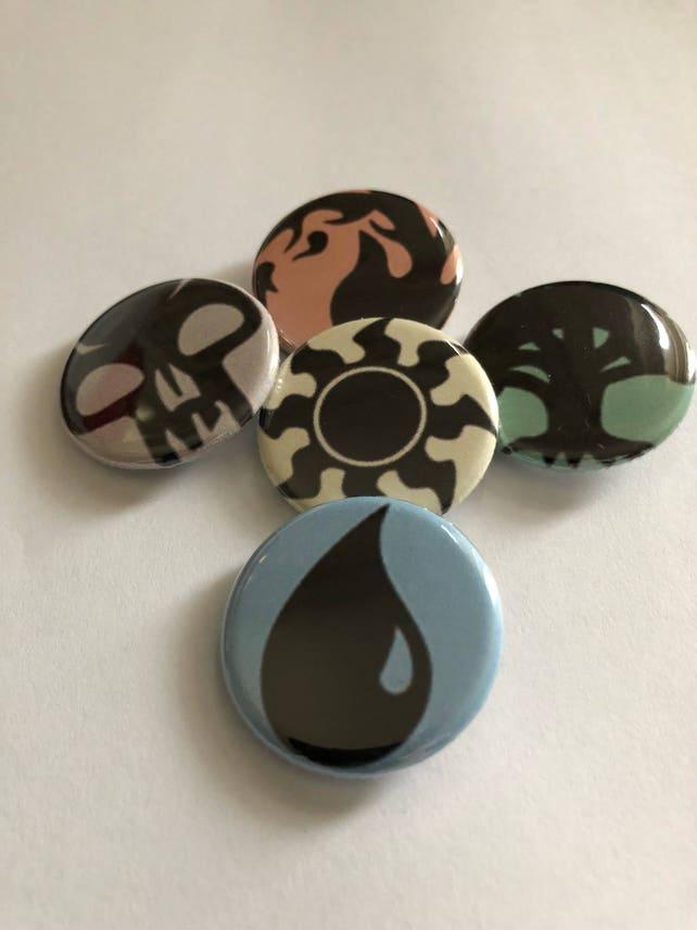 Mtg Pins 5 Pack Of Magic The Gathering Inspired Mana Symbols Etsy