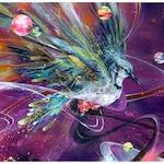 Blue Jay Art Print - Bird Art - Surreal Art - Wall Art - Planetary Alignment by Black Ink Art