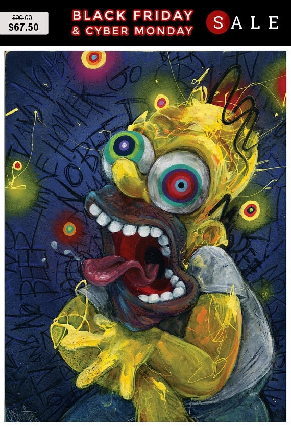 Homer Simpson Art | The Simpsons | Giclee Canvas Reproduction of