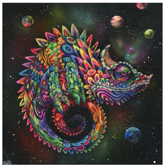Chameleon Art Print Surreal Art Rainbow Lizard Trippy Etsy