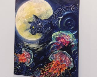 """Cat jelly fish Art Giclee Canvas Reproduction - Surreal Artwork - Canvas Reproduction of """"Rising Tide"""" by Black Ink Art"""