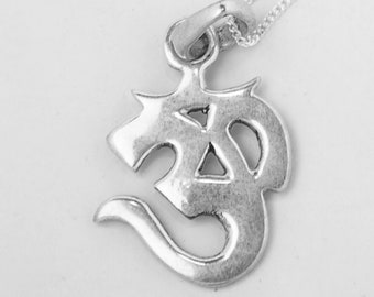 Silver om pendant etsy silver om pendant 925 sterling silver aloadofball Image collections