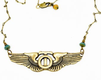 Aviator Wing Necklace, Steampunk wings