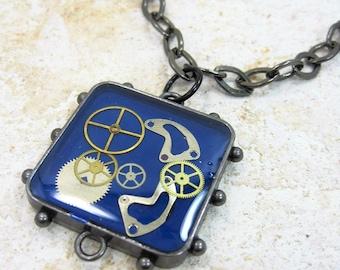 Steampunk Watch Part Pendant Necklace