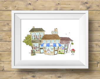 Books Buns and Bouquets Illustration - Art Print - Spring Shops and Bakery Town Wall Art
