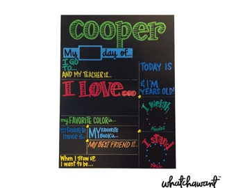 FIRST/LAST Day of SCHOOL Chalkboard 15x20 | reusable, year after year | hand lettered & hand painted | customize colors, categories, style