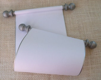 "Blank Scroll, Wedding Vows Scroll, Blank Scroll for Handwritten Letter, Scroll with Box, 5x12"" paper scroll with silver accents"