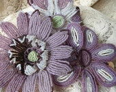 RESERVED for BERNIS Three Large French Beaded Flowers Violet Mauve