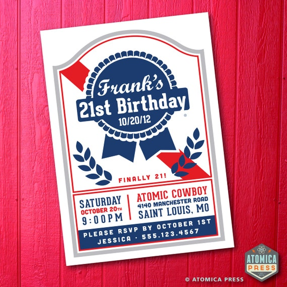 Pabst Blue Ribbon 21st Birthday Party Invitation Hipster