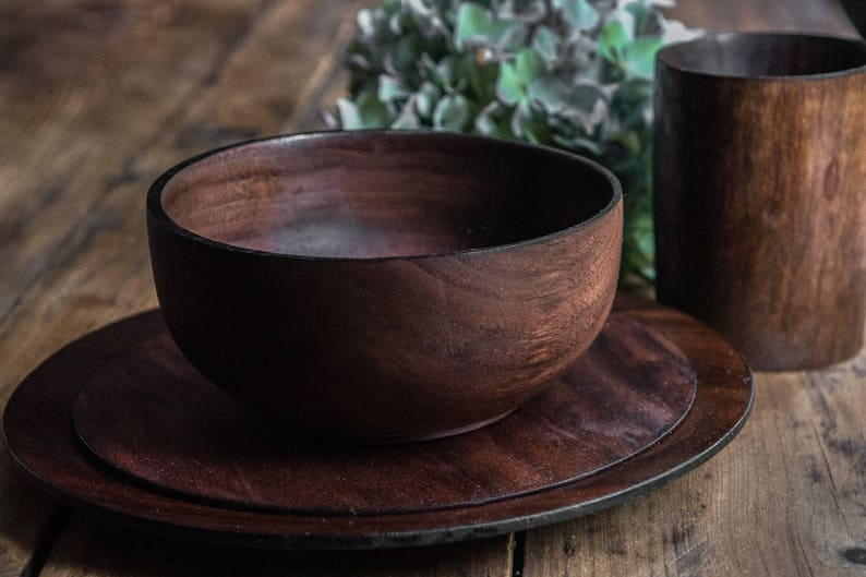Wood Dinnerware Set Place Setting Formal Table Setting image 0