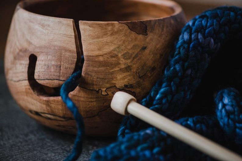 Extra Large Wood yarn bowl Crochet bowl Wood knitting bowl image 0