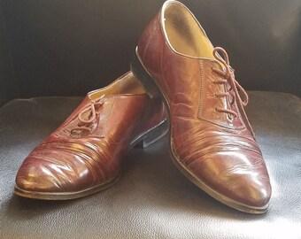 vintage Pierre Cardin shoes 10.5 leather black 70/'s oxfords mens dress
