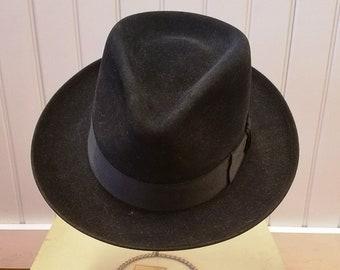 5d667babea703 Vintage Ebony Black Fur Felt Fedora